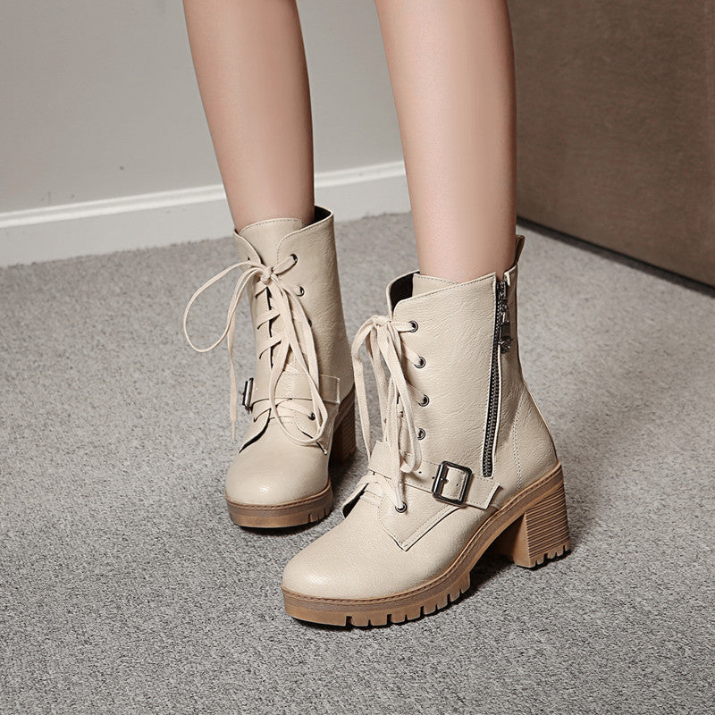 PU Pure Color Round Toe Block Heel Side Zipper Ankle Boots 9.5 Beige