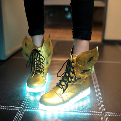 PU Round Toe Flat Heel Lace Up 7 Colors Led Light Wing Sneakers 9.5 Gold