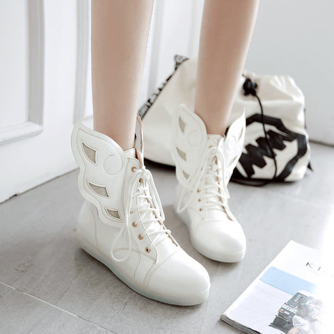 PU Round Toe Flat Heel Lace Up 7 Colors Led Light Wing Sneakers 9.5 White