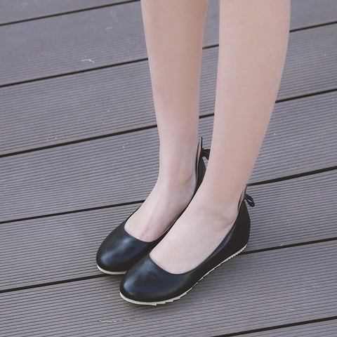 PU Pure Color Round Toe Hidden Heel Back Bowtie Loafers 9 Black