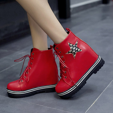 PU Round Toe Hidden Heel Lace Up Mesh 7 Colors Light Led Boots 9.5 Red