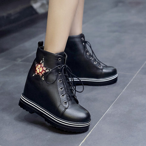 PU Round Toe Hidden Heel Lace Up Mesh 7 Colors Light Led Boots 9.5 Black