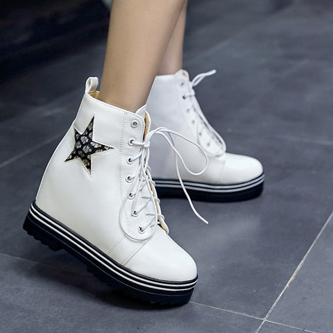 PU Round Toe Hidden Heel Lace Up Mesh 7 Colors Light Led Boots 9.5 White