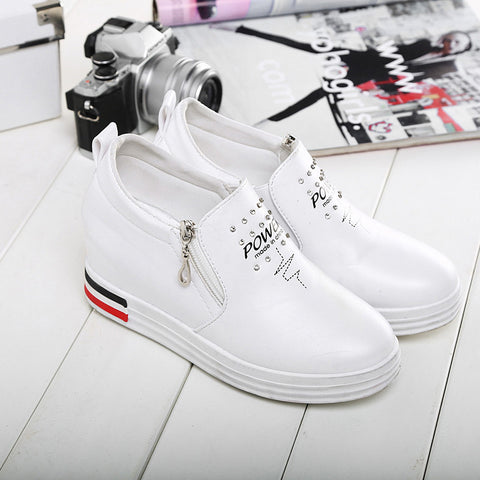PU Round Toe Hidden Heel Side Zipper Crystal Platform Letter Printed Loafers 6.5 White