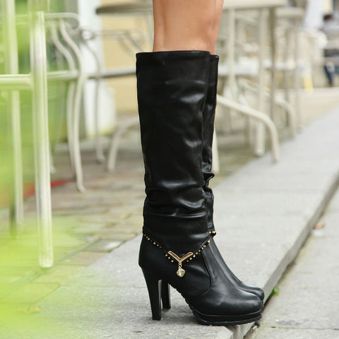 PU Pure Color Round Toe High Heel Crystal Embellished Removable Knee High Boots 7.5 Black