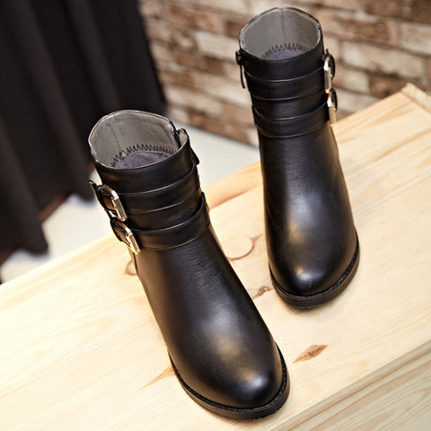 PU Pure Color Round Toe Low Block Heel Double Buckle Short Boots 36 Black