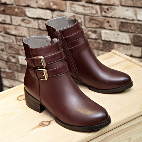 PU Pure Color Round Toe Low Block Heel Double Buckle Short Boots 37 Wine red