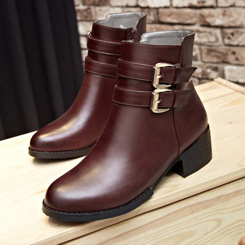 PU Pure Color Round Toe Low Block Heel Double Buckle Short Boots 36 Wine red