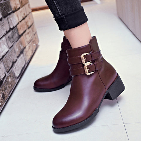 PU Pure Color Round Toe Low Block Heel Double Buckle Short Boots 39 Wine red