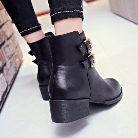 PU Pure Color Round Toe Low Block Heel Double Buckle Short Boots 38 Black