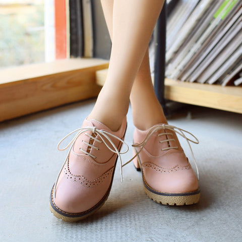 PU Pure Color Round Toe Middle Heel Lace Up Brogues 9.5 Pink
