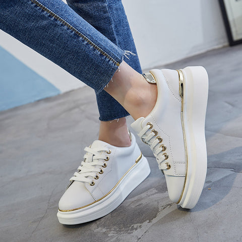 PU Round Toe Platform Heel Lace Up Embellished Bright Colors Edges Sneakers 7.5 Gold