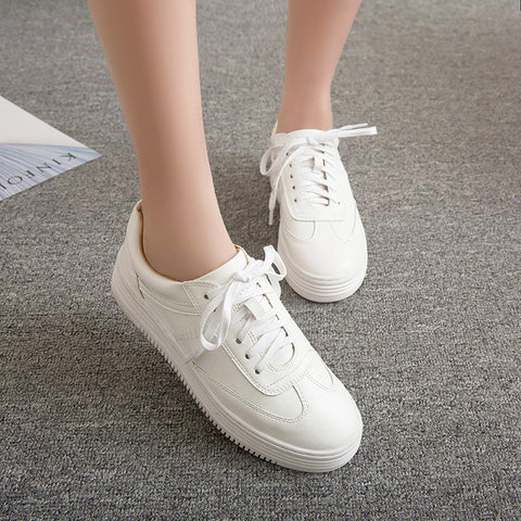 PU Pure Color Round Toe Platform Heel Lace Up Sneakers 6 White