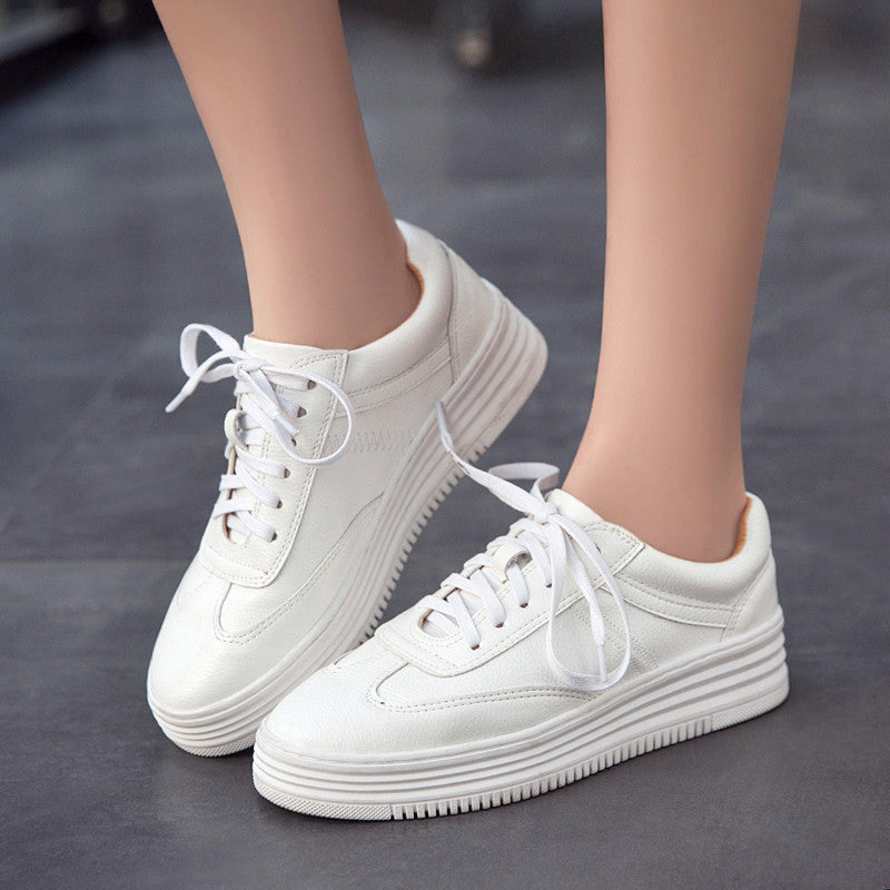 PU Pure Color Round Toe Platform Heel Lace Up Sneakers 7.5 White