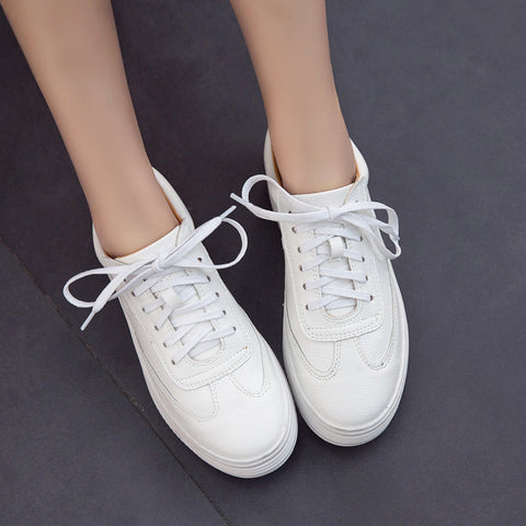PU Pure Color Round Toe Platform Heel Lace Up Sneakers 6.5 White