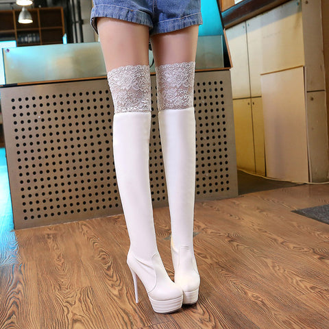 PU Pure Color Round Toe Stiletto Heel Lace Thigh High Boots 9.5 White
