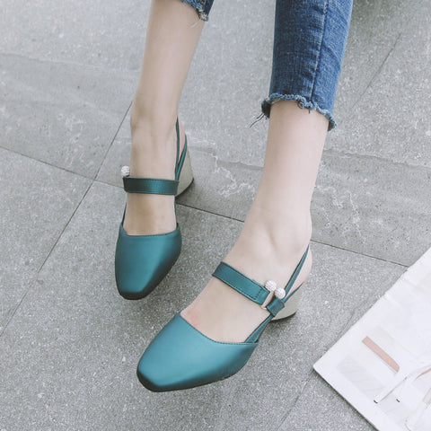 PU Pure Color Square Toe Block Heel Crystal Slingback Sandals 9 Green