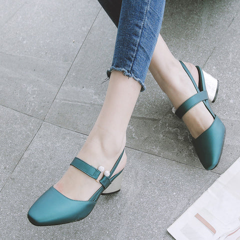 PU Pure Color Square Toe Block Heel Crystal Slingback Sandals 8.5 Green