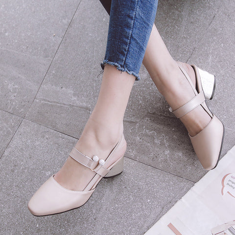 PU Pure Color Square Toe Block Heel Crystal Slingback Sandals 8.5 Pink