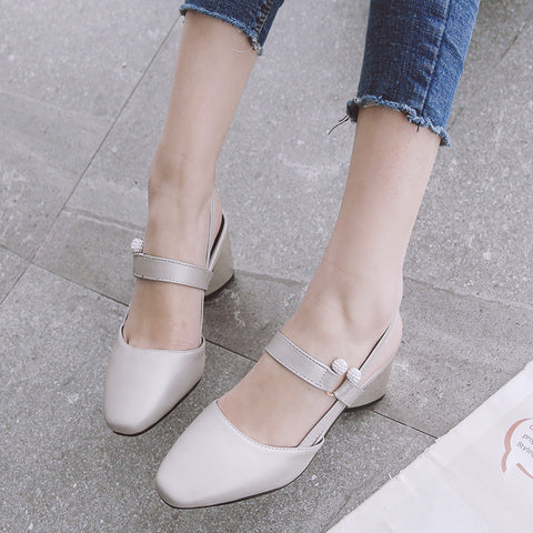 PU Pure Color Square Toe Block Heel Crystal Slingback Sandals 8.5 Grey