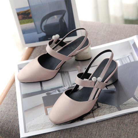 PU Pure Color Square Toe Block Heel Crystal Slingback Sandals 9.5 Grey