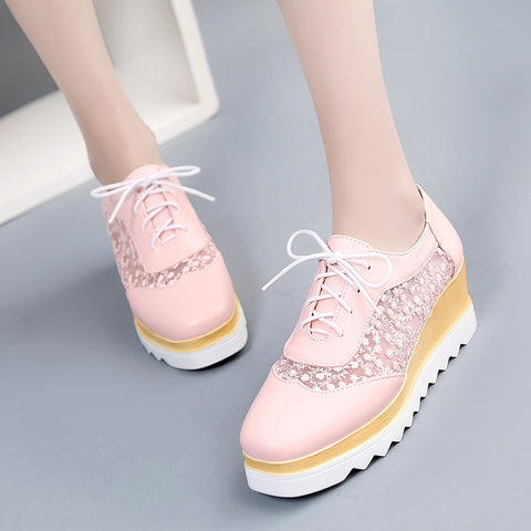 PU Pure Color Platform Wedge Heel Hollow Carved Lace Up Casual Shoes 8.5 Pink