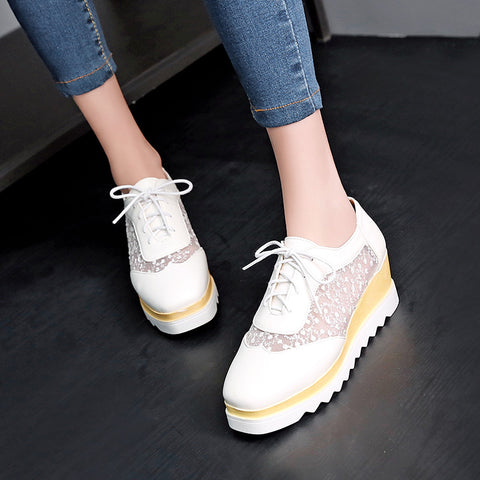 PU Pure Color Platform Wedge Heel Hollow Carved Lace Up Casual Shoes 8.5 White