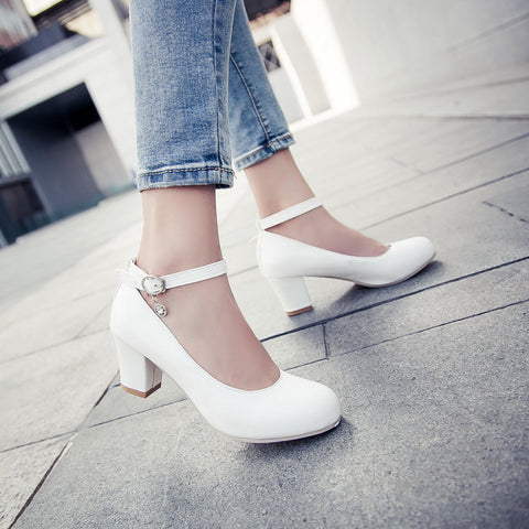 PU Round Toe Block Heel Ankle Strap Crystal Pumps 9 White
