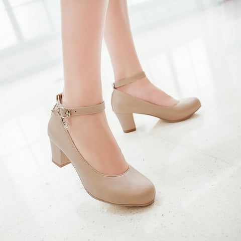 PU Round Toe Block Heel Ankle Strap Crystal Pumps 9 Beige