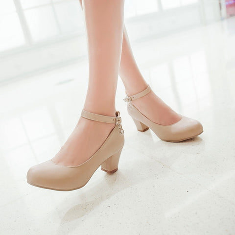 PU Round Toe Block Heel Ankle Strap Crystal Pumps 8.5 Beige