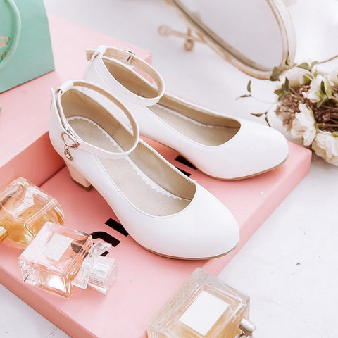 PU Round Toe Block Heel Ankle Strap Crystal Pumps 8 White