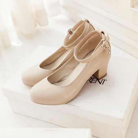 PU Round Toe Block Heel Ankle Strap Crystal Pumps 8 Beige