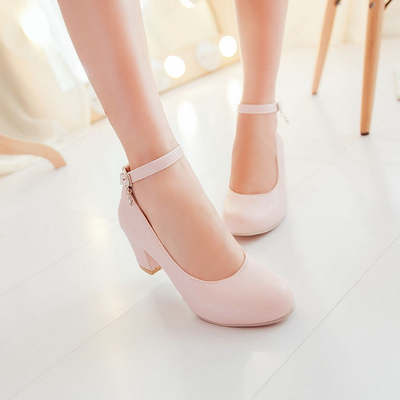 PU Round Toe Block Heel Ankle Strap Crystal Pumps 8.5 Pink