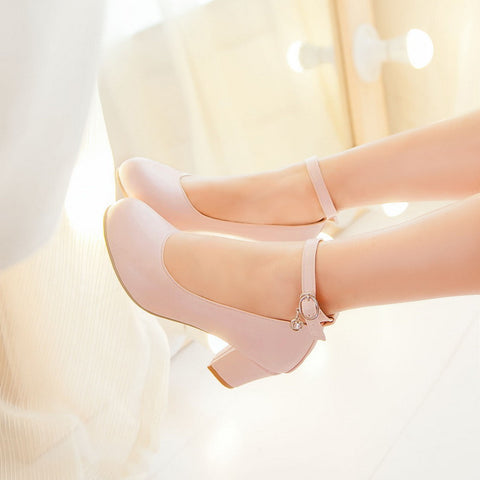 PU Round Toe Block Heel Ankle Strap Crystal Pumps 9 Pink