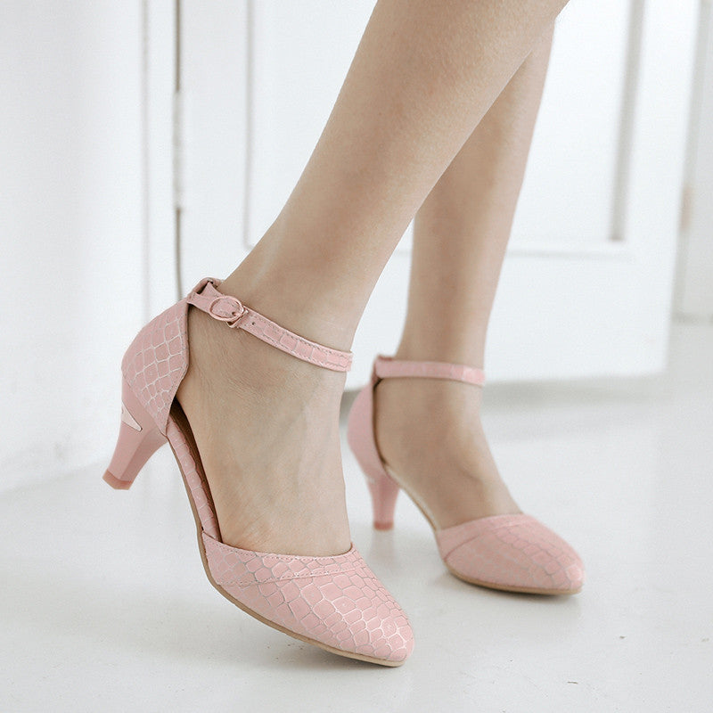PU Sweet Pure Color Pointy Toe Kitten Heel Plaid Lines Ankle Strap Pumps 9.5 Pink