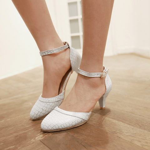 PU Sweet Pure Color Pointy Toe Kitten Heel Plaid Lines Ankle Strap Pumps 9.5 White
