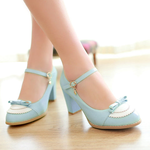 PU Sweet Pure Color Round Toe Block Heel Strap Bowtie Brogues 9.5 Blue