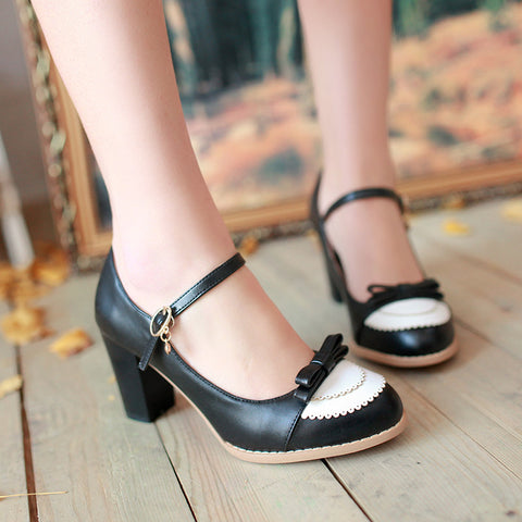 PU Sweet Pure Color Round Toe Block Heel Strap Bowtie Brogues 9 Black