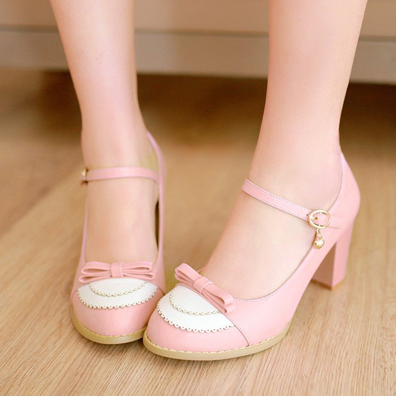 PU Sweet Pure Color Round Toe Block Heel Strap Bowtie Brogues 9 Pink