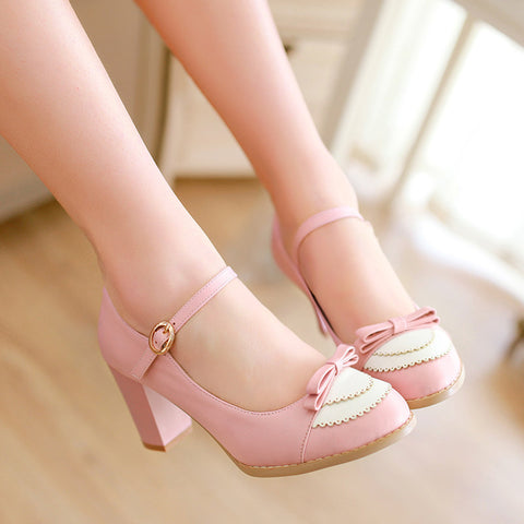 PU Sweet Pure Color Round Toe Block Heel Strap Bowtie Brogues 9.5 Pink