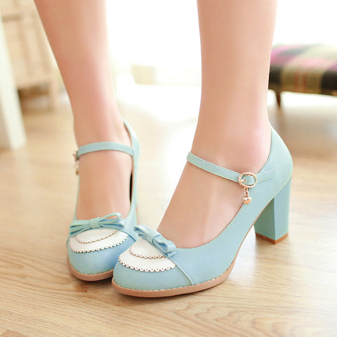 PU Sweet Pure Color Round Toe Block Heel Strap Bowtie Brogues 9 Blue