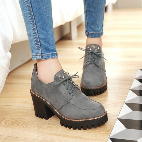 Round Toe Block Heel Lace Up Rivet Platform Ankle Boots 9 Grey