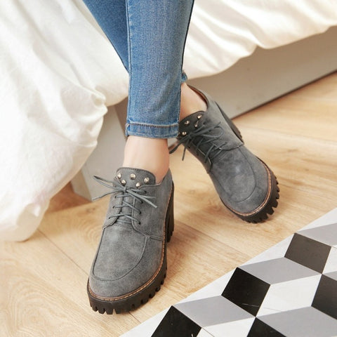 Round Toe Block Heel Lace Up Rivet Platform Ankle Boots 8.5 Grey