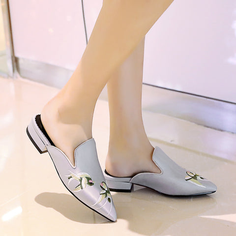 Satin Pure Color Pointy Toe Low Block Heel Embroidery Slippers 9 Grey