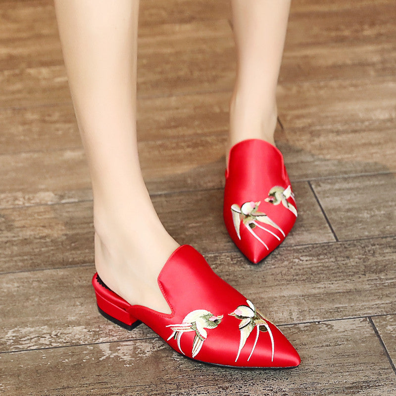 Satin Pure Color Pointy Toe Low Block Heel Embroidery Slippers 8.5 Red