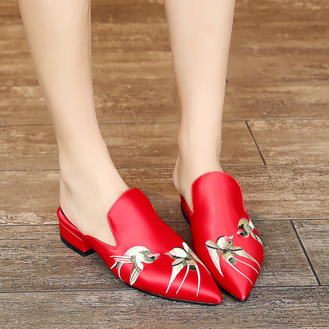 Satin Pure Color Pointy Toe Low Block Heel Embroidery Slippers 9 Red