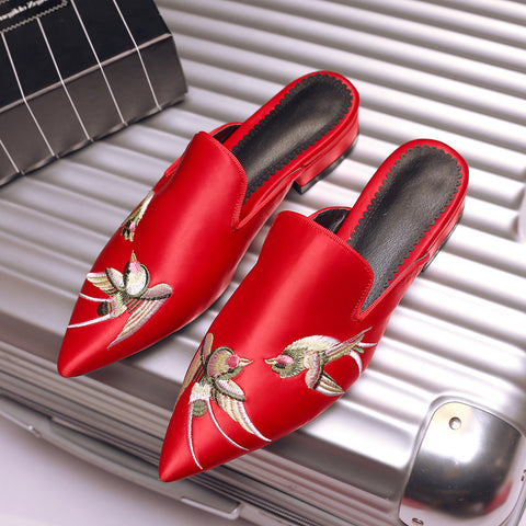Satin Pure Color Pointy Toe Low Block Heel Embroidery Slippers 9.5 Red