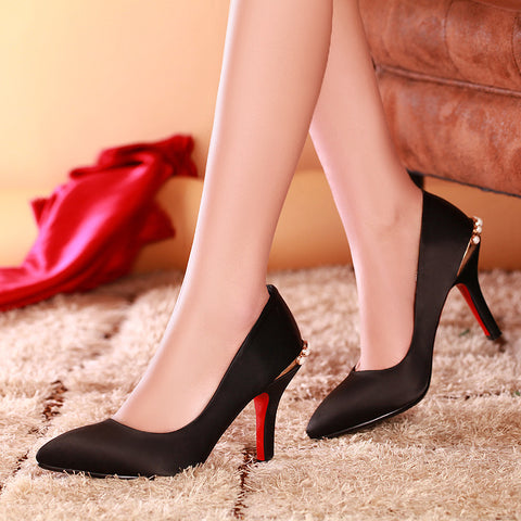 Satin Pure Color Pointy Toe Stiletto Heel Crystal Metal Embellished Pumps 8.5 Black