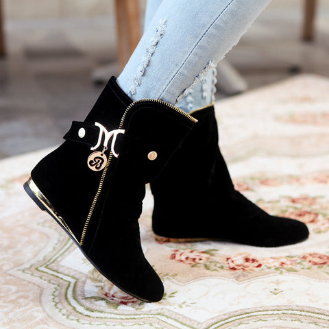 Suede Round Toe Flat Heel Ankle Boots 8.5 Black