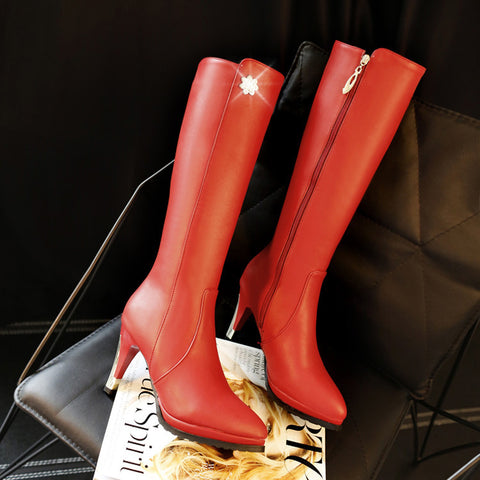 PU Pure Color Pointed Toe Side Zipper Crystal Stiletto Heel Knee High Boots 9.5 Red